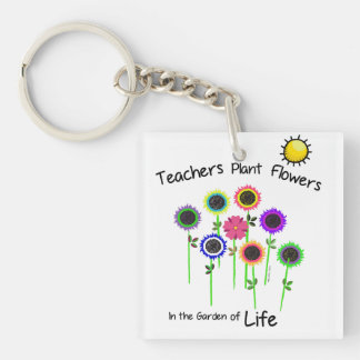 Teacher's Plant Flowers double sided key ring