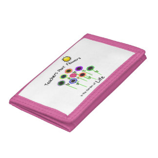 Teacher's Plant Flowers Pink TriFold Nylon Wallet