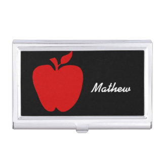Teacher's Red Apple Business Card Case