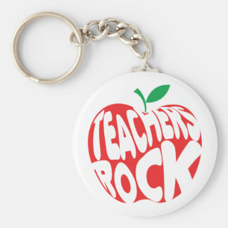 Teachers Rock Basic Round Button Key Ring