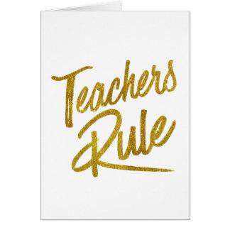 Teachers Rule Gold Faux Foil Metallic Glitter Quot Card