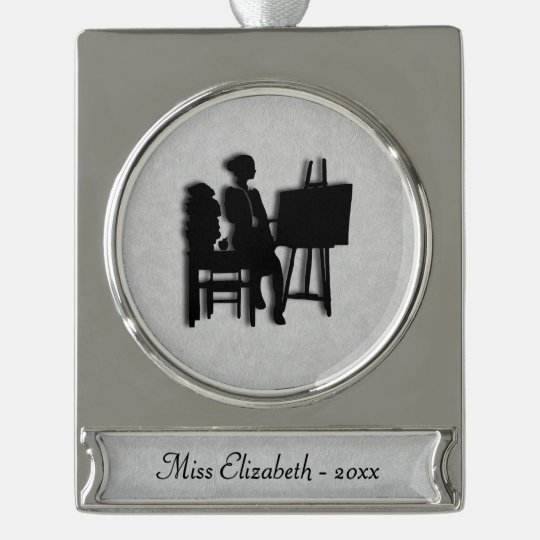 Teacher's School Room Silver Name and Year Silver Plated Banner Ornament