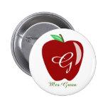 Teacher's Shiny Apple 6 Cm Round Badge