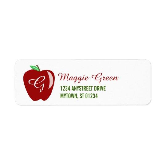 Teacher's Shiny Apple Return Address Label