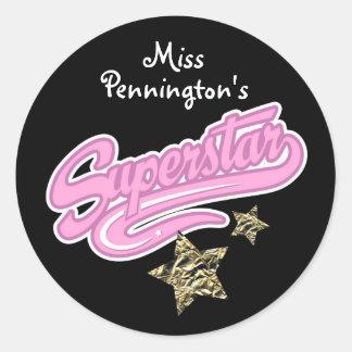 Teachers 'Superstar' Reward Round Sticker