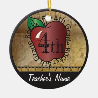Teacher's Vintage Style 4th Grade | Chalkboard Round Ceramic Decoration