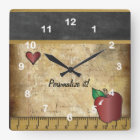 Teacher's Vintage Style Chalkboard Square Wall Clock