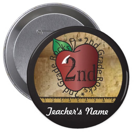Teacher's Vintage Styled 2nd Grade Button Pin