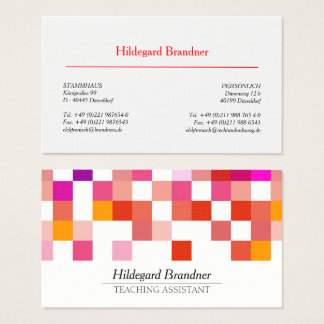 Teaching assistant red modern pattern business card