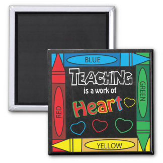Teaching is a work of heART Square Square Magnet