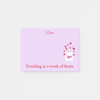 Teaching pink hearts post-it notes