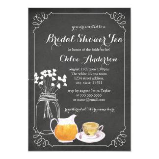 Teacup Chalkboard Elegant Bridal Shower Invitation
