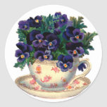 Teacup Flowers Round Stickers