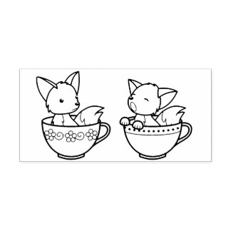 Teacup Foxes - Baby Animals in a Cup Self-inking Stamp