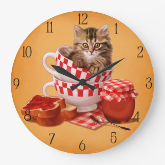 teacup kitty large clock