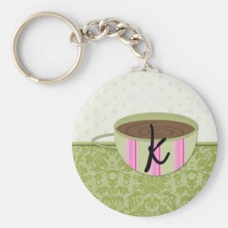 Teacup Monogram K Basic Round Button Key Ring