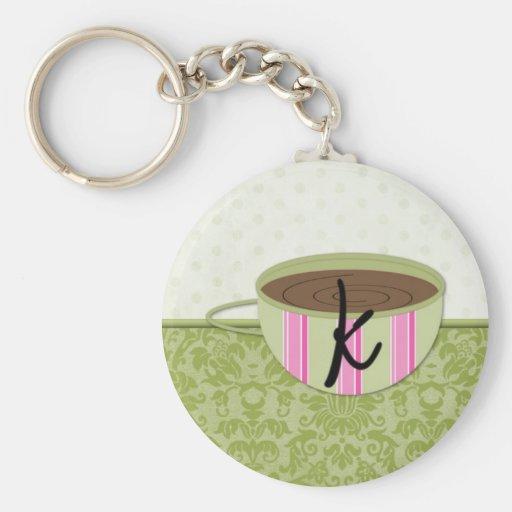 Teacup Monogram K Keychain