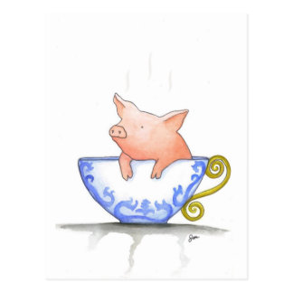 Teacup Pig Print Postcard