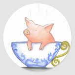 Teacup Pig Print Round Sticker