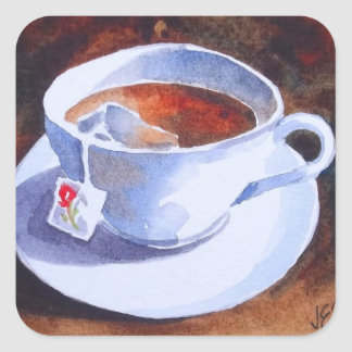 Teacup & Saucer with Teabag Square Sticker