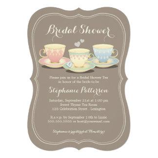 Teacup Trio Chic Bridal Shower Tea Party Personalized Announcements