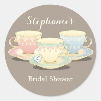 Teacup Trio Chic Bridal Shower Tea Party Sticker