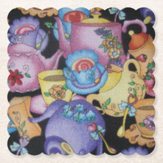 Teacups and Teapots Paper Coaster