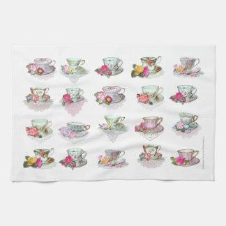 Teacups Tea Cups Pink Roses Floral Tea Cups Tea Towel