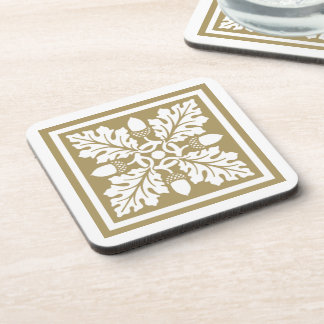 Teak Acorn and Leaf Tile Design Coaster