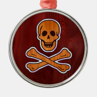 Teak Inlay Pirate Silver-Colored Round Decoration