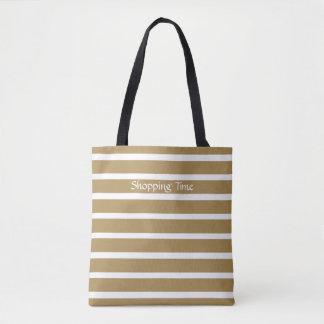 Teak Neutral Stripes Tote Bag