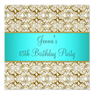 Teal 15th Birthday Party Invitation Teal Blue 15th
