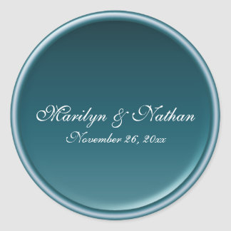 "Teal 1.5"" Round Wedding Envelope Seal Round Sticker"