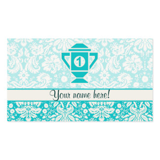 Teal 1st Place Trophy Business Card Template
