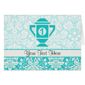 Teal 1st Place Trophy Greeting Cards