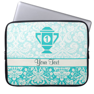 Teal 1st Place Trophy Laptop Sleeve