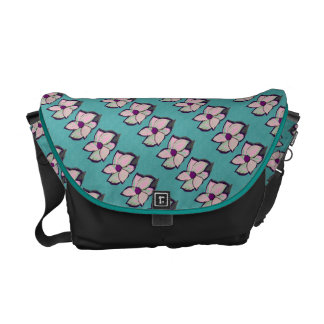 Teal Abstract Flower pattern Messenger Bag