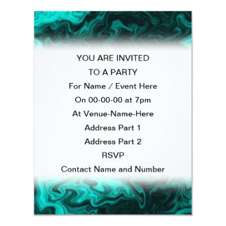 Teal Abstract Pattern. 11 Cm X 14 Cm Invitation Card
