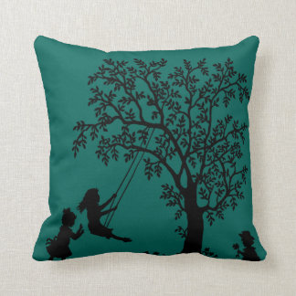 teal Abstract Tree kids playing pillow Throw Cushions