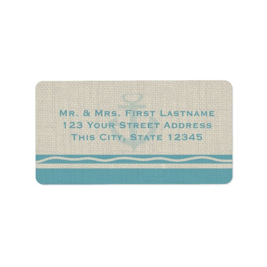 Teal Anchor and Burlap Address Label