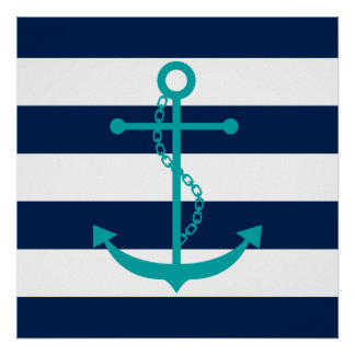 Teal Anchor on Blue Stripes Poster