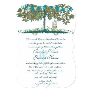 Teal and Aqua Bunting Tree Birdcage Wedding Invite