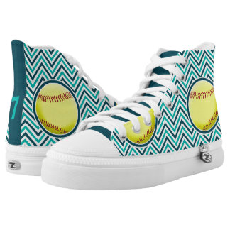 Teal and Aqua Customizable Jersey Number Softball Printed Shoes