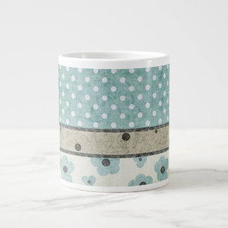 Teal and Beige Floral and Polka Dot Large Coffee Mug