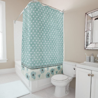 Teal and Beige Floral and Polka Dot Shower Curtain