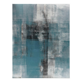 Teal and Black Abstract Art Painting Poster