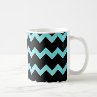 teal and black chevron mug