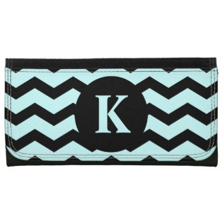 Teal and Black Chevron Pattern Wallets