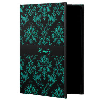Teal and Black Damask Personalized iPad Air 2 Case