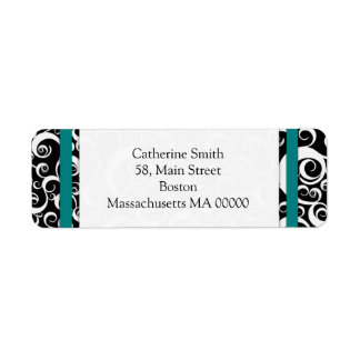 Teal and Black Damask Swirls Address Labels